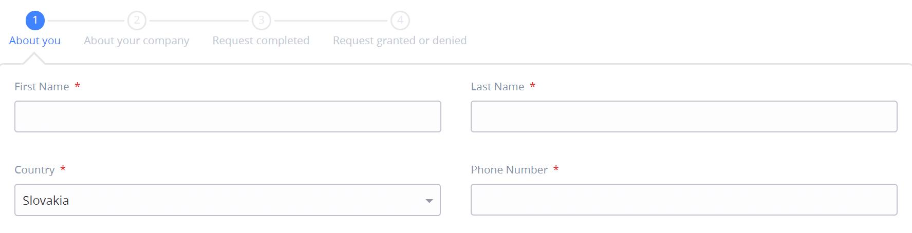 Základné údaje v registračnom formulári do Sigfox partners - SimpleCell